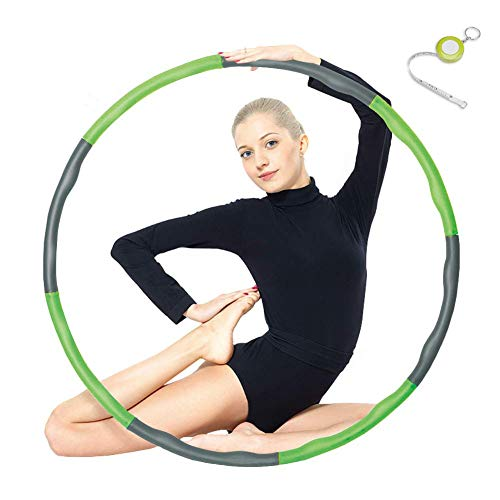 Espistmo Fitness Hula Hoop zur Gewichtsreduktion,Reifen mit Schaumstoff ca 1 kg Gewichten Einstellbar Breit 48–88 cm beschwerter Hula-Hoop-Reifen für Fitness (4 Knoten Grün + Grau) mit Mini Bandmaß
