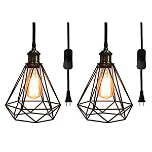 Riomasee Industrial Plug in Pendant Lighting 14.27 Ft Hanging Cord with On/Off Switch,Cage Black Metal Hanging Light Fixture for Farmhouse,Bedroom,Kitchen 2-Pack