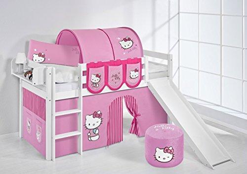 Lilokids Lit Mezzanine JELLE Hello Kitty Rose -lit d'enfant Blanc - avec Toboggan et Rideau - lit 90x200 cm