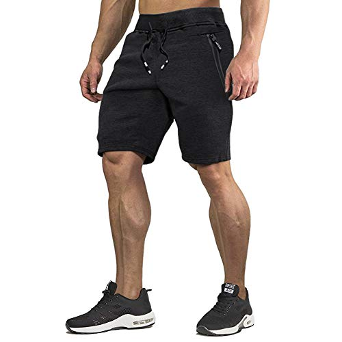 CRYSULLY Men's Classic Fit Casual Cotton Jogger Gym Workout Short Pants with Elastic Waist Black
