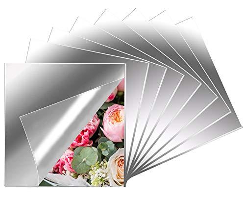 8 espejos de azulejos de Eonaze, autoadhesivos, flexibles, no cristal, decoración de pared HD, acrílico, espejo de pared sin marco (20,5 x 20,5 cm)