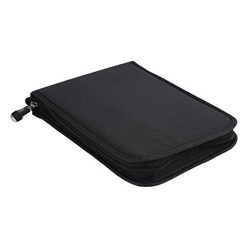 72/120 Slots opvouwbare potlood pouch grote capaciteit aquarel pennenetui zwart canvas potlood opbergtas 120 Slots (schwarz) zwart