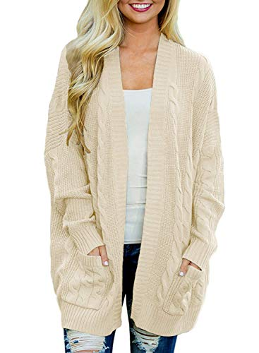 Doballa Damen Vorne öffnen Chunky Zopfstrick Twisted Cardigan Pullover Mantel mit Tasche, Beige, Gr.- M