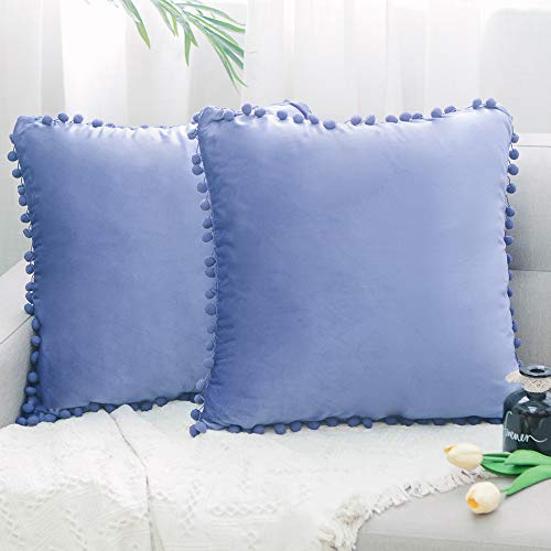 Natus Weaver Pack of 2,Velvet Soft Soild Decorative Pom Poms Square Throw Pillow Covers Cushion Case for Sofa Bedroom Car 12 x 12 Inch 30 x 30 cm