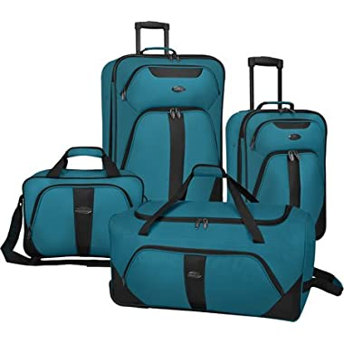 US Traveler Oakton 4-Piece Luggage Set,Teal,US