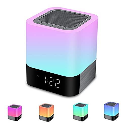 Altavoz Bluetooth Luz Nocturna, Lamparas de Mesita de Noche, Lampara LED Multicolor RGB Regulable, Sensor Táctil Lámpara de Cabecera con Reloj Despertador, Regalo Mujer Hombre Niña Niño