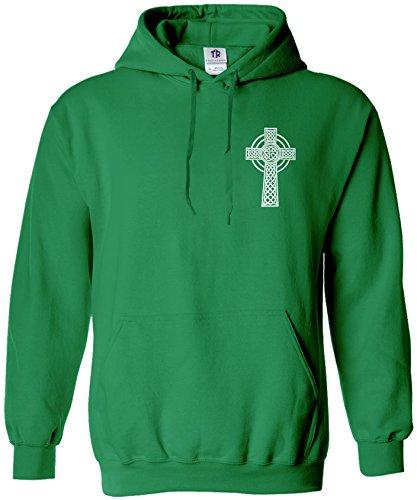 Threadrock Men's Celtic Cross Chest Design Hoodie Sweatshirt XL Kelly Green