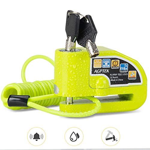 AGPTEK Lucchetto Antifurto Moto con Cavo per Promemoria da 1,5 m, Lucchetto Bloccadisco Moto da 7 mm con Allarme da 110 dB per Motocicli, Biciclette, Verde