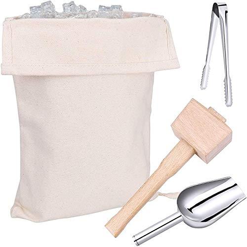 Lewis Bag and - Martillo para romper hielo manual, bolsa de hielo triturada reutilizable de algodón con accesorios de madera, kit de accesorios de cocina para picar hielo (4 unidades)
