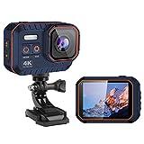 DZSWDTQ Wi-Fi Sports Waterproof Camera,4K HD Video 16MP Camera,170 Degree Wide Angle LCD Screen -Navy Blue