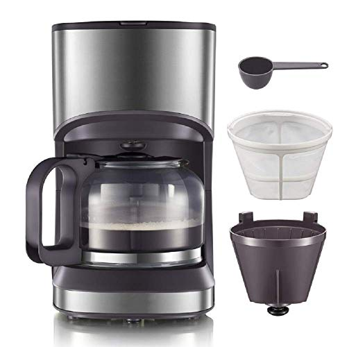 Qinmo Iced coffee maker,Coffee Makers, Coffee Maker with Coffee Filter and Glass Carafe, Small Drip Coffee Machines with Stainless Steel Decoration for Home, Travel & Office, Black