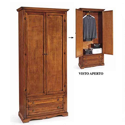Milani Home s.r.l.s. Armadio 2 Ante in Legno massello 87 x 40 x 192