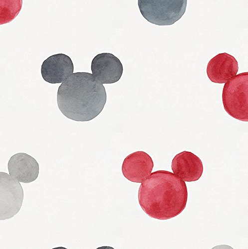 Disney Red Watercolor Mickey Ears Fabric by The Yard - Organic 100% Cotton