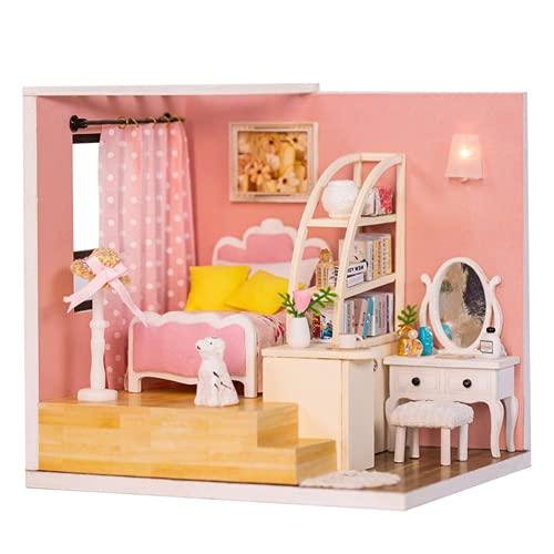 Gugxiom Casa De Muñecas De Ensamblaje, Kit De Casa De Muñecas En Miniatura Casa De Muñecas De Ensamblaje De Bricolaje En Miniatura para Ensamblar Regalos De Cumpleaños(Estándar M-012)