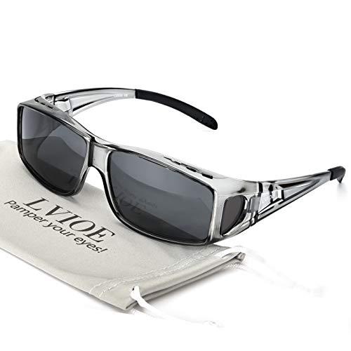 LVIOE Unisex Polarisiert Sonnenbrille, Brille Überbrille für Brillenträger, Fit-Over Polbrille für Herren und Damen 100% UVA UVB Schutz
