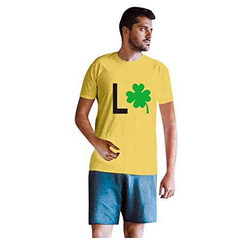 Dasongff T-shirt Klee Partner Look Paar T-shirt St. Patricks Day korte mouwen kostuum basic casual thee bovenstuk top blouses Medium Yellow/heren.