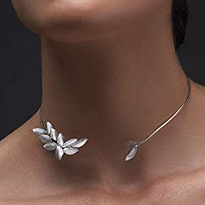 Blatt Halskette, Elf Schmuck, Halsband aus Sterlingsilber, Elf Halskette, Blätter Halskette, Statement Kette, Statement…