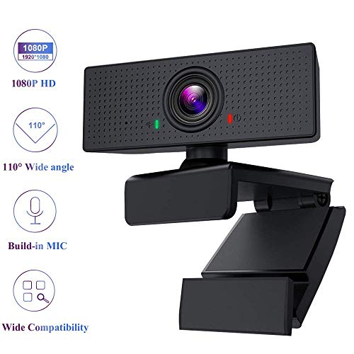 Best Price Webcam, HD 1080P 360° Rotating Computer Camera with Bulid-in Mic, 110° Wide Angle Video...