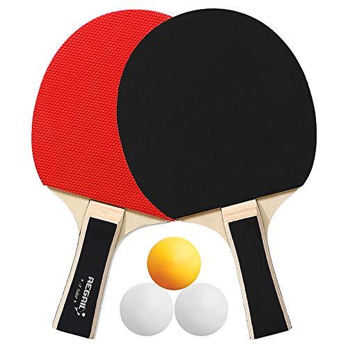 Festnight Paletas de Ping Pong Raquetas de Tenis de Mesa de Calidad 2 de Ping Pong Mango Largo Juego de Raquetas de Ping Pong Accesorios de Entrenamiento Kit de Paquete de Raquetas con 3 Pelotas