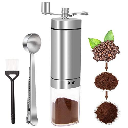 Linkax Macinacaffè Manuale,Coffee Grinder in Acciaio Inox con Regolabile Grinder in Ceramica Burr,Macinino per Chicchi di caffè o Spezie,Macina caffè per la casa, L'Ufficio o Il Campeggio