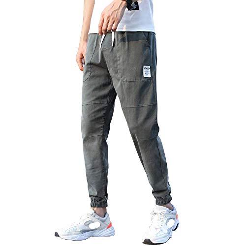 Jeans de Hombre Cordón Color sólido Pies de viga elástica Casual Sección Delgada Suelta Ocho Puntos Pantalones