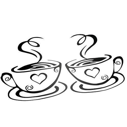Weilifang Kaffeetassen Cafe Tea-Wand-Aufkleber-Kunst Kaffeetassen Vinyl Aufkleber Kitchen Pub Decor