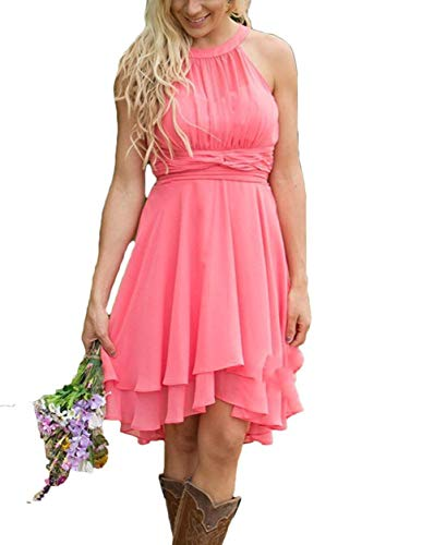 Meaningful Off Shoulder Chiffon Prom Dresses Short Halter A-line Bridesmaid Evening Party Gownes Size 22plus Dark Pink