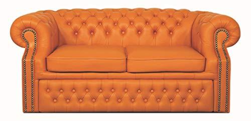 Casa Padrino sofá 2 plazas de Cuero Genuino Naranja 180 x 100 x H. 78 cm - Sofá Cama Chesterfield de Lujo