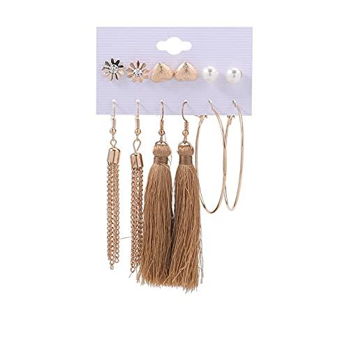 1 pieza de pendientes de oreja para niñas, pendientes de aro con borla bohemia, pendientes de aro y pendientes de corazón