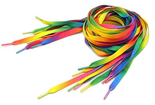 OUTERDO 2Pcs Unisex Shoelaces Rainbow Gradient Multi-Colors Shoe Strings For Canvas Athletic Sneakers Flat Shoe