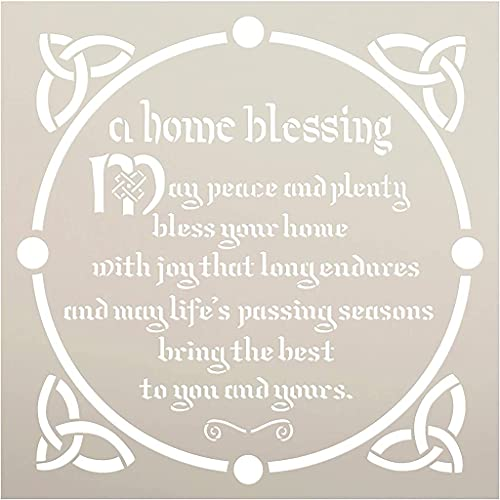 Irish Home Blessing Stencil with Celtic Knot by StudioR12 | DIY St. Patrick's Day Spring Cottage Decor | Craft & Paint Farmhouse Wood Signs | Reusable Mylar Template | Select Size (12 x 12 inch)