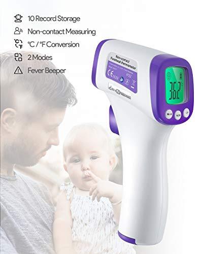 Digitales Infrarot-Thermometer, 4 Einstellmodi, 99 Speicherplätze °C und °F, umschaltbar, sofortiges Ablesen, für Familie, öffentliche Räume, Schule und Büro