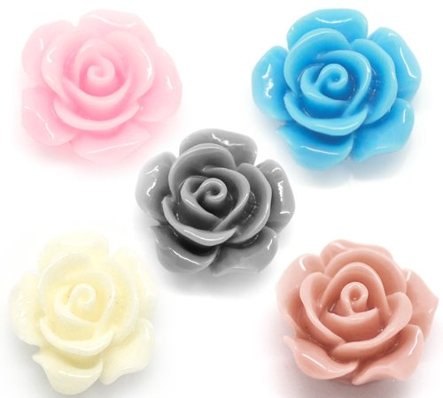 Housweety 100 Mixed Resin Flower Embellishments Jewelry Making Findings 14x6mm(1/2'x1/4')