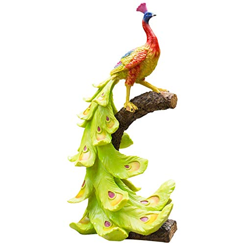 HongTeng-Garden sculpture Resin Peacock Garden Statue, Standing Peacock Sculptures Yard Animal Sculpture Patio Ornament for Outdoor Decoration