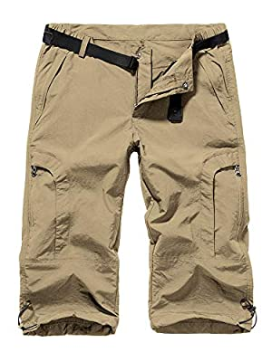 Jessie Kidden Women's Stretch Hiking Shorts, Outdoor Quick Dry Elastic Waist Casual Capri Cargo Pants for Safari Camping Travel (2030 Khaki 36)