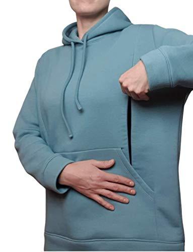 MOTHERLIWEAR Elegante sudadera con capucha para maternidad de lactancia, cálida y suave, de algodón, colores pastel
