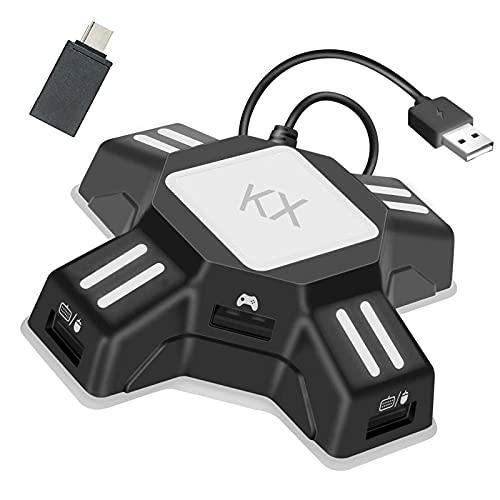 Adattatore KX Convertitore di Tastiera e Mouse per PS5, PS4, Switch, Xbox One, Xbox Serie X, PS3 Convertitore USB 2.0 Mouse Keyboard Converter Apex Game Adapter