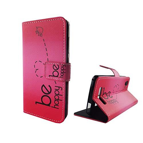 König Design Handyhülle Kompatibel mit ZTE Blade A452 Handytasche Schutzhülle Tasche Flip Hülle mit Kreditkartenfächern - Be Happy Design Pink