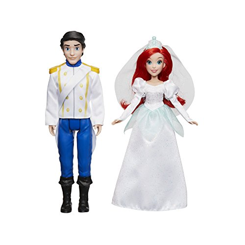 Disney Princess Ariel and Prince Eric, 2 Fashion Dolls from The Little Mermaid Movie, Doll in Wedding Dress, Tiara, and Shoes, Toy for 3 Year Olds and Up