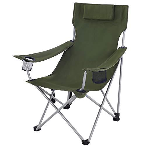SONGMICS Campingstuhl, Klappstuhl, Outdoor-Stuhl mit Armlehnen, Kopfstütze und Getränkehaltern, stabiles Gestell, bis 150 kg belastbar, grün GCB09AG