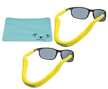 Koala Lifestyle Chums Floating Neoprene Eyewear Retainer Sunglass Strap   Eyeglass & Glasses Float   Water Sports Holder Keeper Lanyard   2pk Bundle + Cloth Yellow