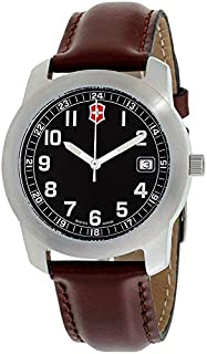 Victorinox Swiss Army - Reloj de cuarzo para hombre, de acero inoxidable y cuero, color marrón Modelo: VICT26012.CB
