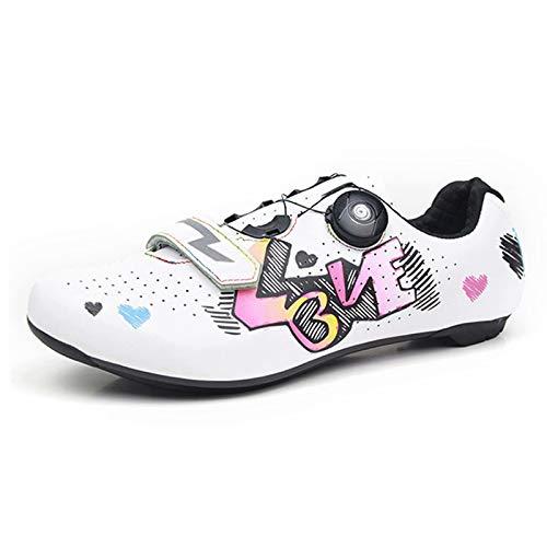 Zapatillas de Ciclismo para Hombres y Mujeres - Zapatillas de Bicicleta de Carretera Zapatillas de Ciclismo para Interiores Spin con Cordones rápidos Tacos SPD compatibles con autobloqueo