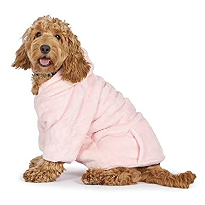Snuggy Hoodie Robe for Dogs – Deluxe Dog Plush Robe – Premium Thermal Material Snuggy with Hood – Soft Sherpa Fleece Lining – Fitted Comfortable Hood – Convenient Snap Fastenings (Pink, Large)
