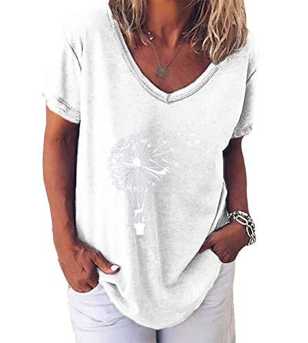 Minetom Pusteblume Bedrucktes T-Shirt Damen Kurzarm Lose Bluse Lässiger V-Ausschnitt Sommer Tops Oberteile E Weiß 42