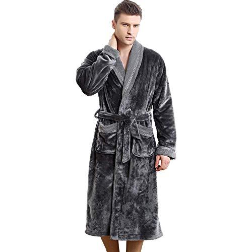 GNLIAN HUAHUA Homewear Ultra Espesar Albornoz Hombres Acolchado Polar de Coral Flojo Traje del Kimono Atractivo cómodo Bata Bata Winter Home, M Vendaje (Size : Click to Select XXXL)