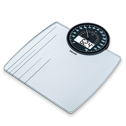 Beurer GS58 - Báscula de baño digital de vidrio, color plata