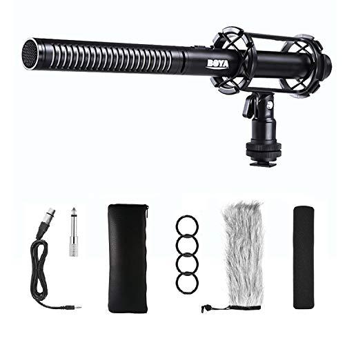 Interview Shotgun Mikrofon XLR, BOYA PVM1000 Pro Broadcast-Qualitätsmikrofon mit Schaumstoff-Windschutzscheibe und Shock Mount sowie 3-poligem XLR-Ausgang für Canon 6D Nikon D800 Sony Camcorder Video
