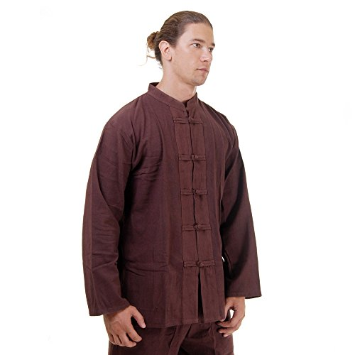 Kung Fu, Tai Chi & Meditations Shirt Jacke Baumwolle Größe L Braun