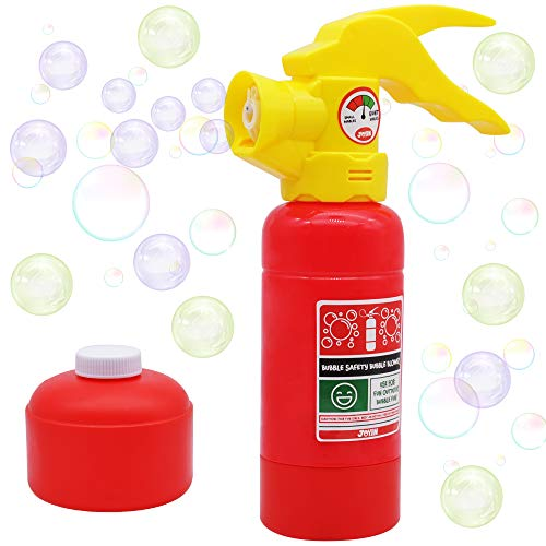 JOYIN Automatic Bubble Maker Fire Extinguisher Bubble Blower Machine with Bubble Solution (100 ml) for Kids, Indoor and Outdoor Play, Summer Themed Party and Birthday Gift